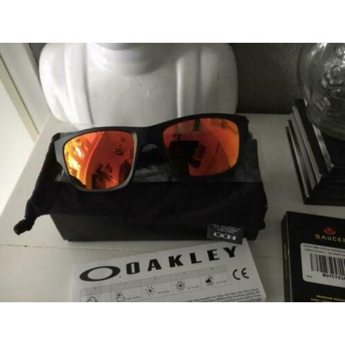 Oakley Jupiter matte black +Polarized Fire Redglazen NIEUW