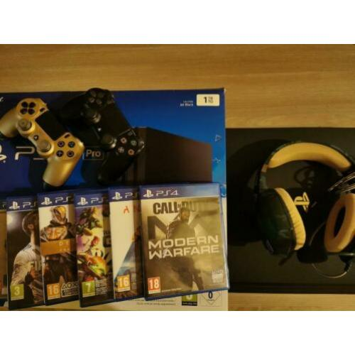 Ps4 pro 1TB + games, 2 controllers, headset & originele doo